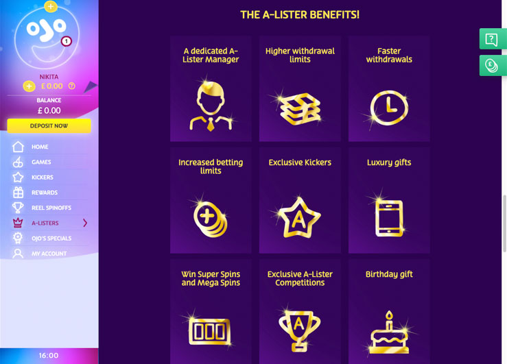 PlayOJO Casino A-Lister VIP benefits.