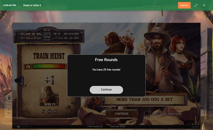 Claim your 25 no-deposit Bonus Spins on Dead or Alive 2.