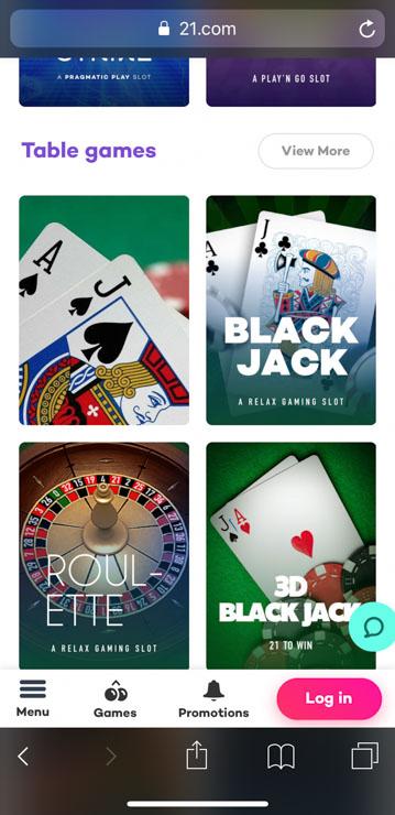 21.com casino table games (mobile).