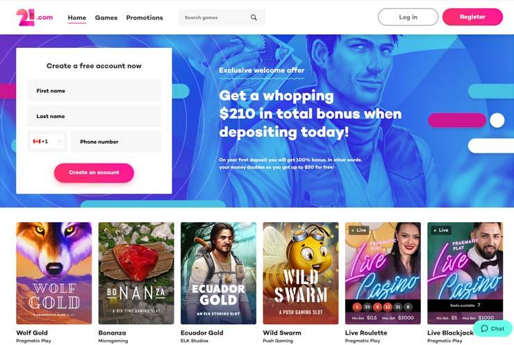 21.com welcome offer.