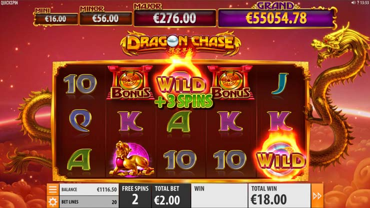 Dragon Chase Free Spins re-trigger.