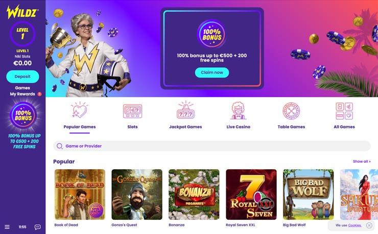 Wildz Casino welcome page.