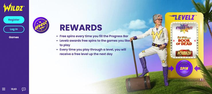 Wildz Casino Levelz rewards.
