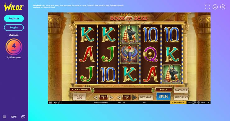 Wildz Casino Spinback rewards.