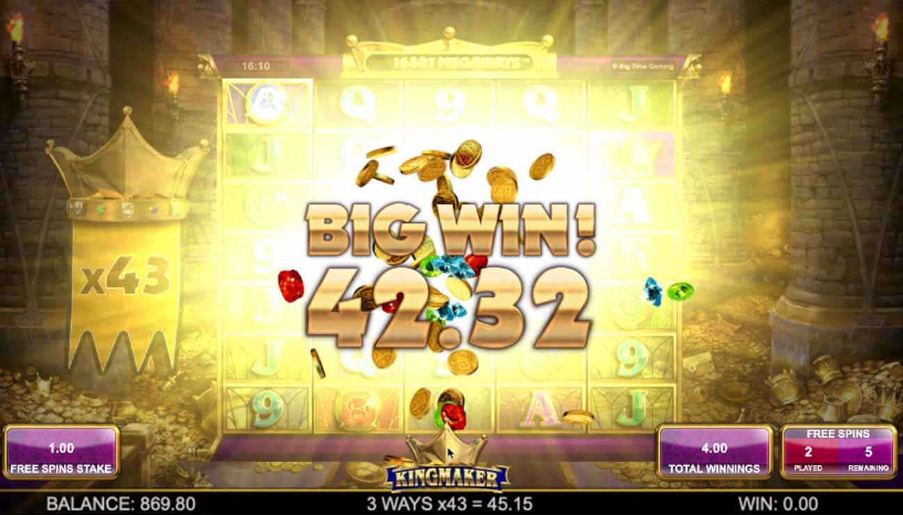 Kingmaker Free Spins Big Win.