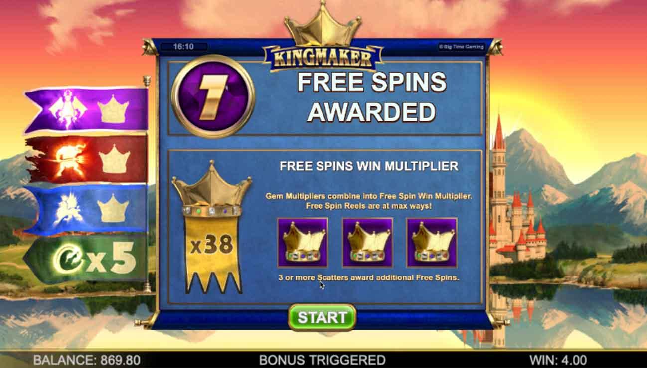 Kingmaker Megaways Free Spins Win Multiplier.