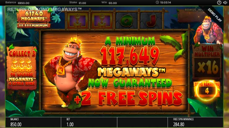 Return of Kong Free Spins bonus.