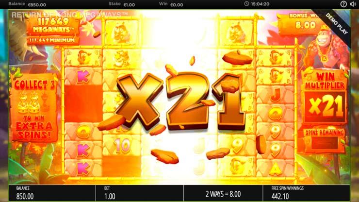 Return of Kong MegaWays win multiplier.